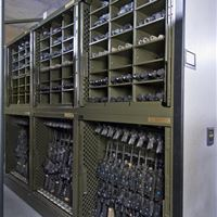 Weapon Rack with Weapons and Bin Storage For Optics