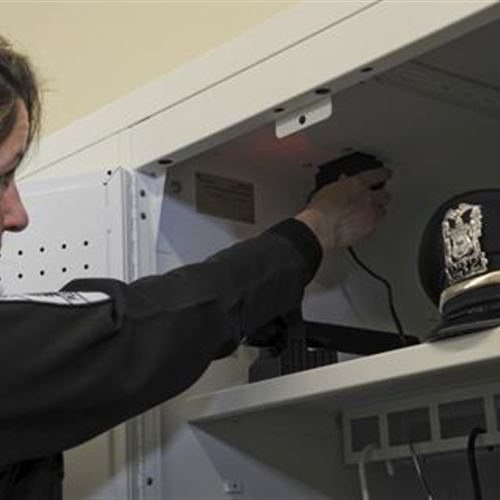 Personal Storage Lockers for Police Officer Gear with Electrical Components