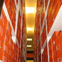 Football Shoe Storage on Mobile Shelving Unit at OSU