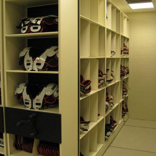 Shoulder Pad Storage on Front of Mobile Shelving Units at OSU