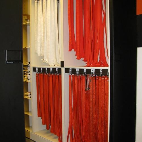 Football Belt Storage on Pullout Hangers at OSU