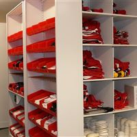 Small Item Football Storage in Bins and High Density Mobile Shelving
