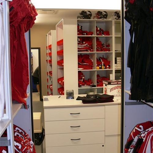 Hanging Jersey Storage on Powered Mobile Shelving at Calgary Stampeders Facility