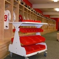 Small Parts Storage on WRXWheels Mobile Cart for Trainer in Locker Room
