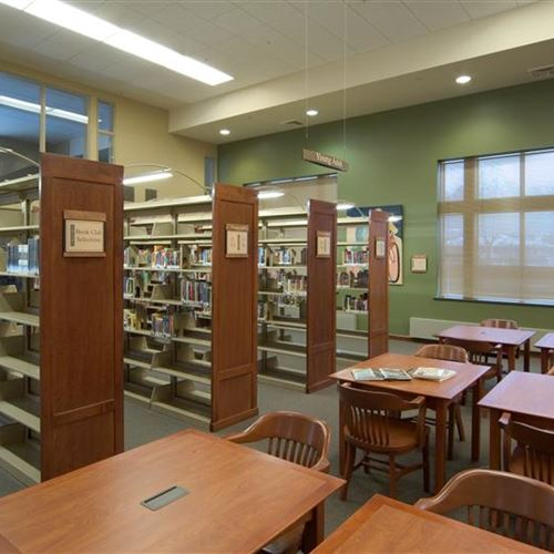 Library Stacks with Lighting at Pewaukee Library