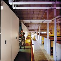 Powered Mobile Shelving on Mezzanine for Military Storage