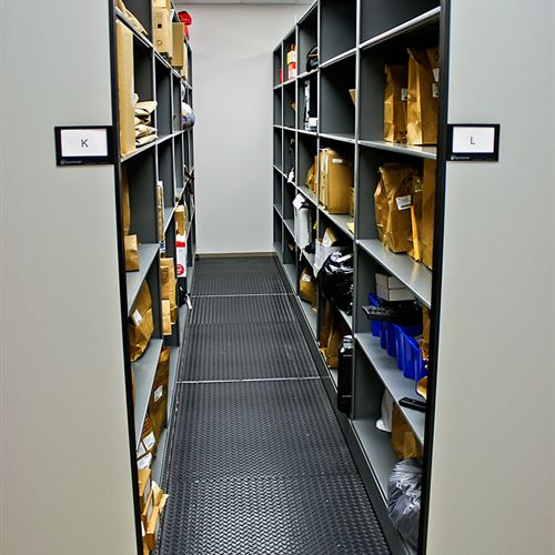 Evidence Storage on Mobile Shelving at Cabarrus County Sheriff's Office