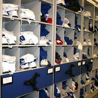 Uniform Shelving on Mobile Storage - Kansas Jayhawks