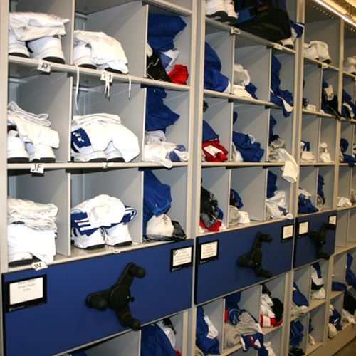 Uniform Shelving on Mobile Storage - Kansas Jayhawks