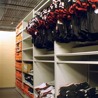 Football Jersey Storage on Mobile Shelving