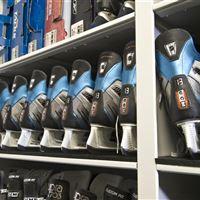 Athletic Equipment storage on mobile shelving of Ice Skates