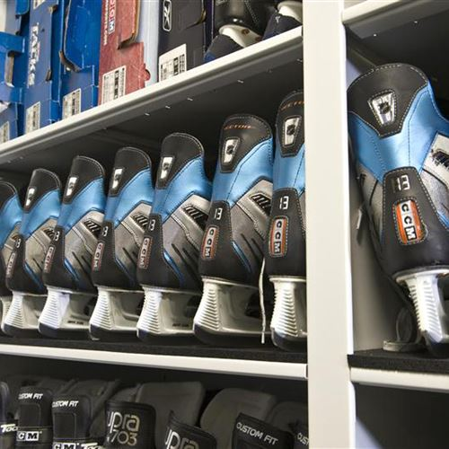 Delicieux Athletic Equipment Storage On Mobile Shelving Of Ice Skates