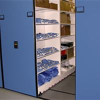 Uniform athletic equipment storage on mobile shelving
