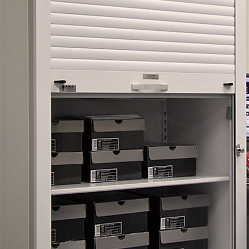 Athletic storage for footwear on Mobile Shelving