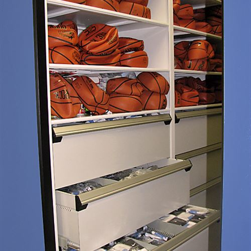 Basketball athletic equipment storage with drawer system
