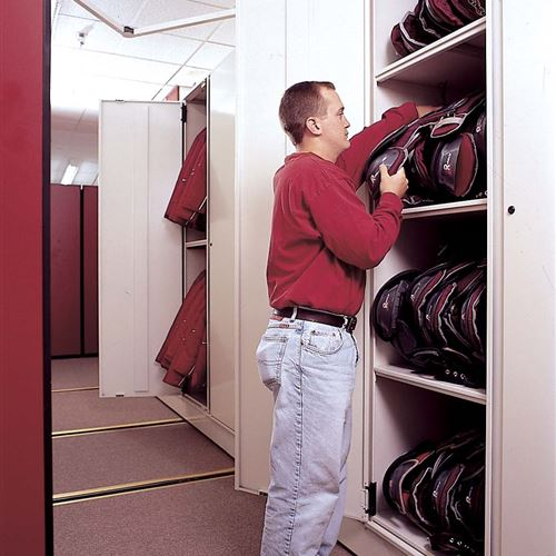 Athletic Equipment storage Cabinets for Shoulder Pads at University of Oklahoma