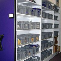 Baseball athletic equipment storage on mobile shelving