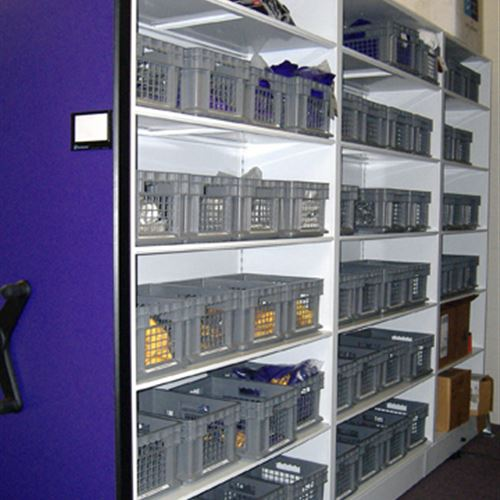 Baseball athletic equipment storage on mobile shelving