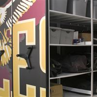 Athletic Equipment Storage at Dunlap High School on Mobile Shelving