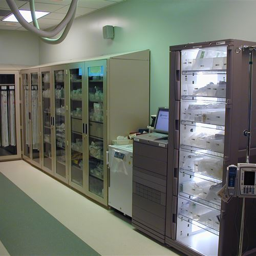 4-Post Shelving with Glass Doors for Medical Supplies