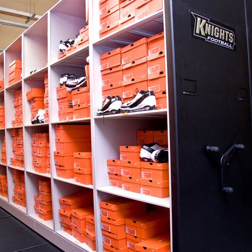Mobile shelving for athletic equipment storage at UCF