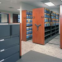 Manually-Powered High-Density Moblie Storage at Discount Tire