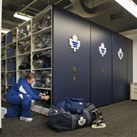 Athletic Equipment storage on mobile shelving for the Maple Leafs
