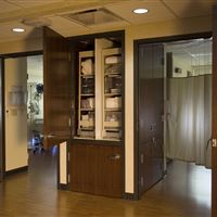 Pull-out Storage for Sterile Supplies Inside of Patient's Room