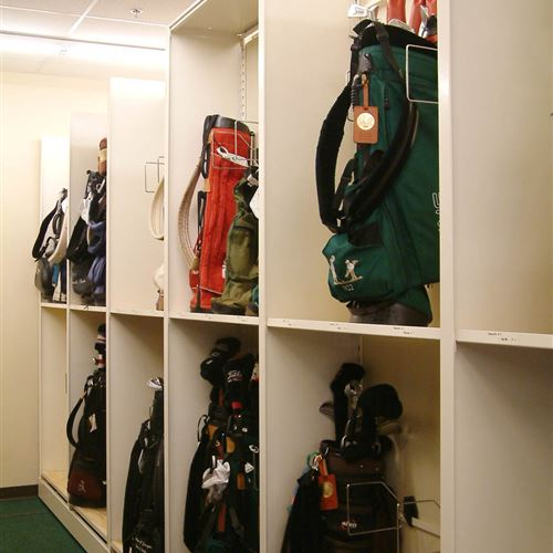 Golf bag storage on high density mobile shelving in Ozaukee Wisconsin