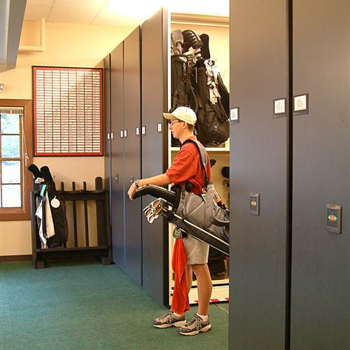 Golf Bags on Compact Mobile Storage