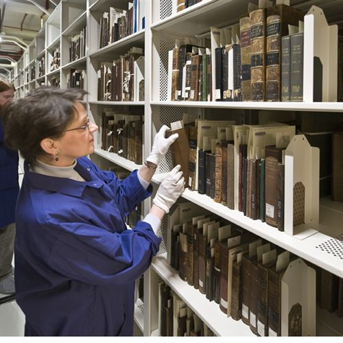 Archival storage of rare books on mobile shelving