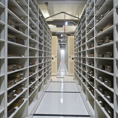 Rare book storage on static shelving at the State Library of Pennsylvania