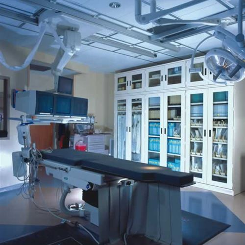 Surgical Suite with glass door storage cabinets