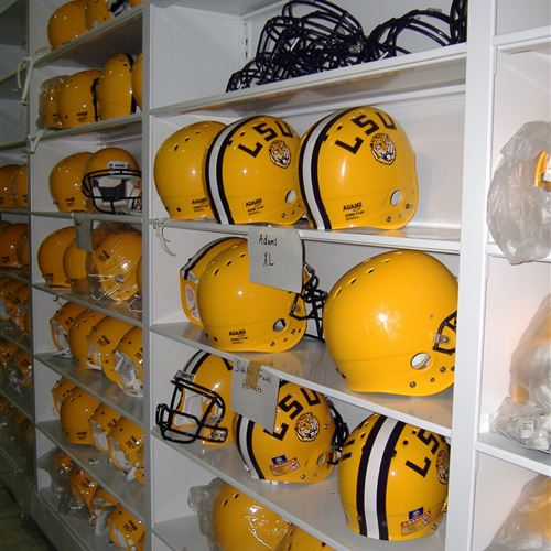 LSU Football Equipment Helmet Storage
