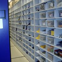 Athletic Storage on mobile shelving