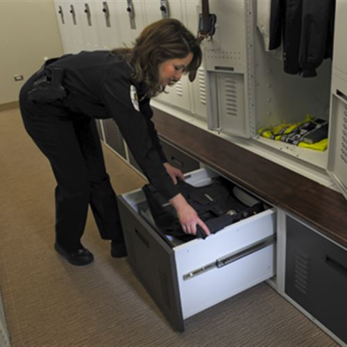 Police Lockers with Drawer Storage at Skokie Police Department