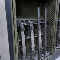 M2 Storage in Universal Weapons Rack on Mobile Shelving