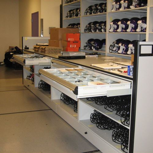 Work Counter Height Mobile Shelving at TCU