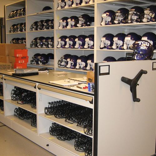 Athletic Equipment Storage on Mobile Shelving at TCU