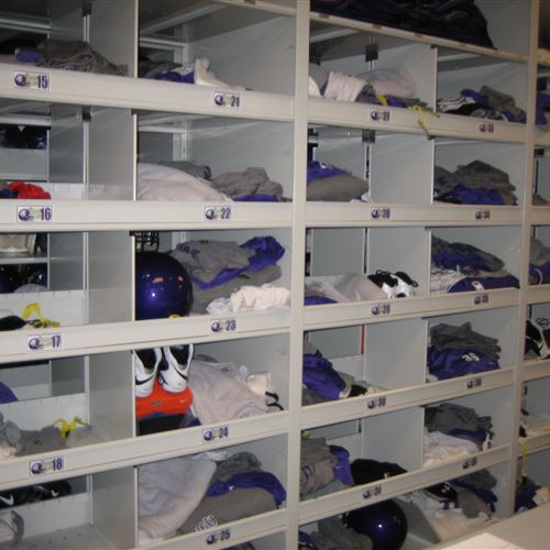 Football athletic Storage Cubbies at TCU