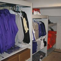 Garment Storage on Stair-Stepped Mobile Shelving at TCU
