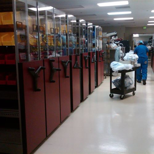 Surgical Supplies in Bins on Mobile Shelving at Naval Medical Center
