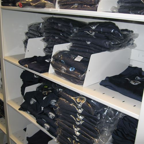 Uniform Storage on Mobile Shelving for the St. Louis Rams