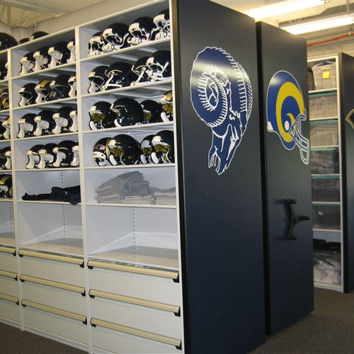 Football Helmet Storage on Mobile Shelving for the St. Louis Rams