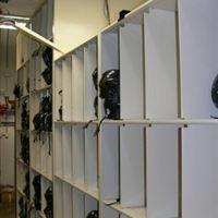 Helmet Storage - 4-Post Shelving & Mechanical Assist Mobile