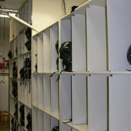 Helmet Storage - 4-Post Shelving & Mechanical Assist Mobile