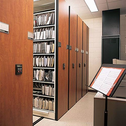 Mobile Storage with 4-Post Shelving & Dividers - Sheet Music