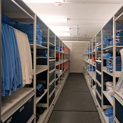 Volleyball athletic equipment Storage on Mobile Shelving at UNC