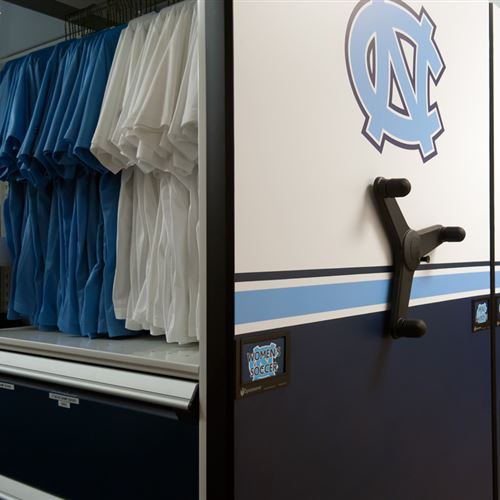 Soccer Uniform Storage on Mobile Shelving at University of North Carolina