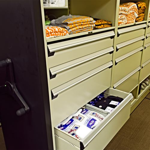 Athletic Equipment Storage with Modular Drawer Cabinets
